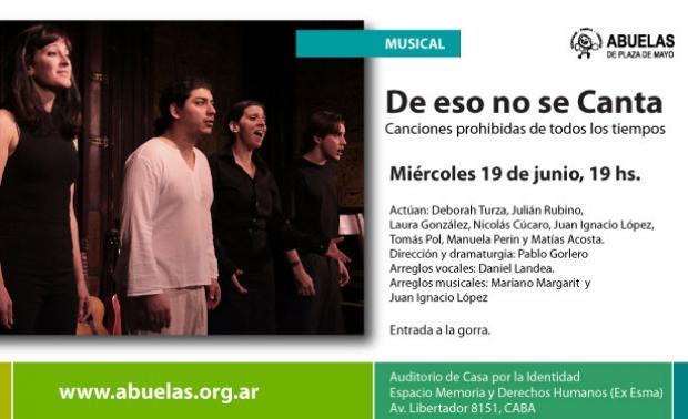 """Imagen de Invitamos a la obra musical """"De eso no se canta"""""""